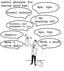 sich verabschieden auf Englisch